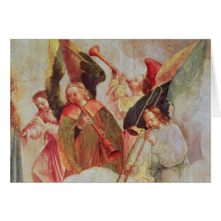 Four angels playing instruments card