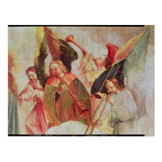 Four angels playing instruments postcard