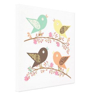 Four birds canvas print