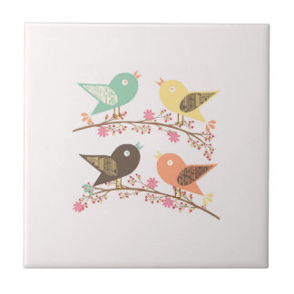Four birds ceramic tile