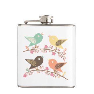 Four birds hip flask