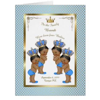 Four birth BOYS announcement card, photo,souvenir