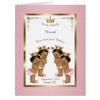 Four birth GIRLS announcement card, photo,souvenir