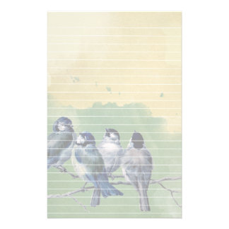 Four Blue Birds Watercolor Background and Lines Stationery