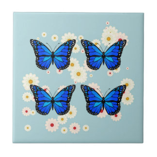 Four blue butterflies ceramic tile