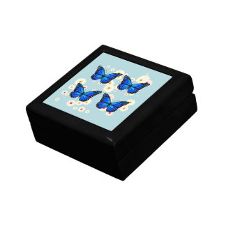 Four blue butterflies gift box