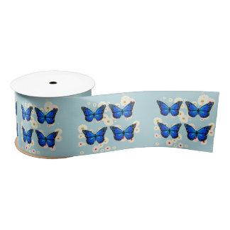 Four blue butterflies satin ribbon