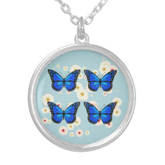 Four blue butterflies silver plated necklace