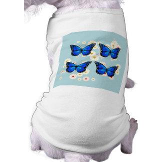 Four blue butterflies sleeveless dog shirt