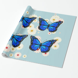 Four blue butterflies wrapping paper
