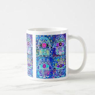 Four Blue Hamsa Vintage Tapastry Judaica Coffee Mug