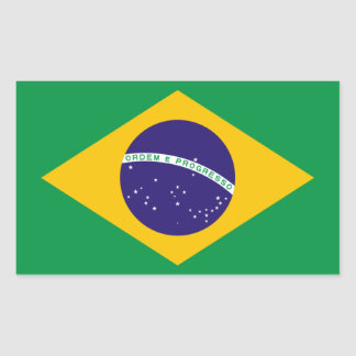 FOUR Brazil National Flag Rectangular Sticker