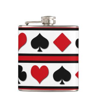 Four card suits hip flask