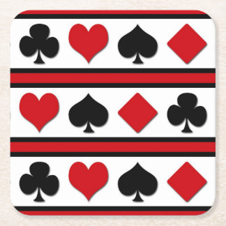 Four card suits square paper coaster