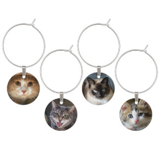 Four Cat and Kitten Faces Wine Charm
