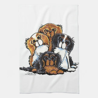 Four Cavalier King Charles Spaniels Tea Towel