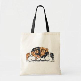 Four Cavalier King Charles Spaniels Canvas Bags