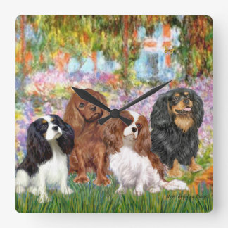 Four Cavaliers in Monet's Garden Square Wall Clock