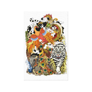 four celestial animals canvas print