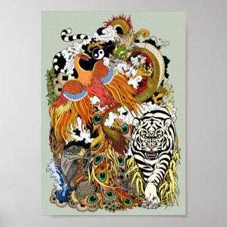 four celestial animals poster