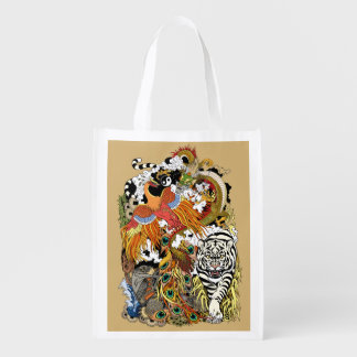four celestial animals reusable grocery bag