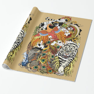 four celestial animals wrapping paper