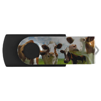 Four chatting cows interrupted in their daily chit swivel USB 2.0 flash drive