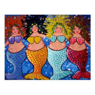 Four Chubby Mermaids Postcard