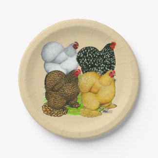 Four Cochin Hens Paper Plate