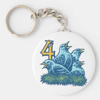 Four Colly Birds Key Ring