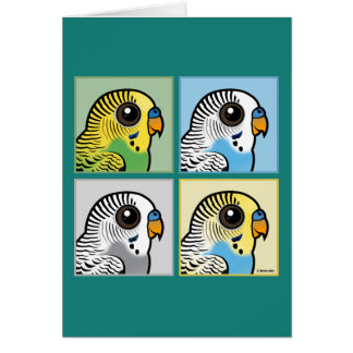Four Color Budgies Card
