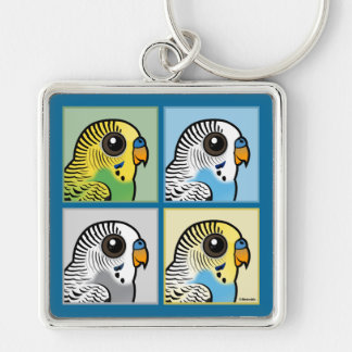 Four Color Budgies Key Ring