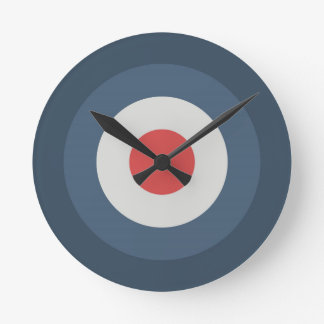 Four Color Combo - Red Gray White Blue Dark Blue Round Clock