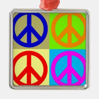 Four Color Pop Art Peace Sign Silver-Colored Square Decoration