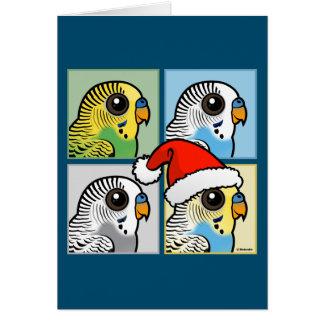 Four Color Xmas Budgies Card