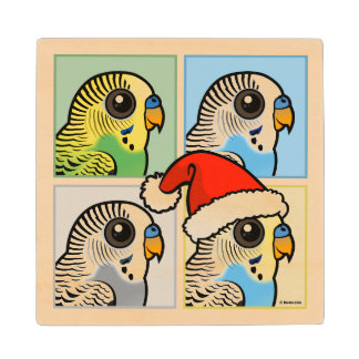 Four Color Xmas Budgies Wood Coaster