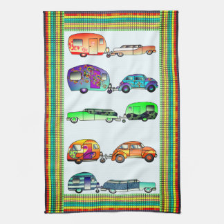 Four Colorful Caravans Dish Towels