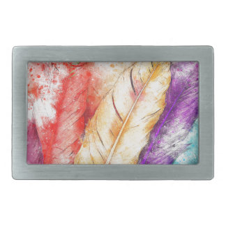 Four Colorful Feather Paint Like Designed Belt Buckle