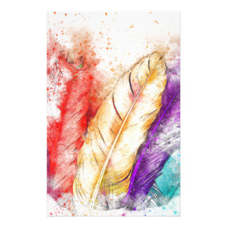 Four Colorful Feather Paint Like Designed Stationery