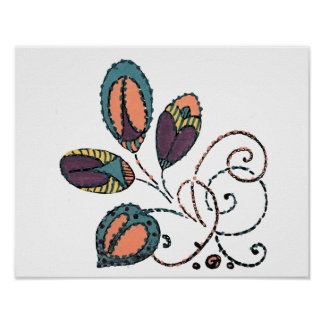 Four Colorful Leaves and Curling Vines Poster
