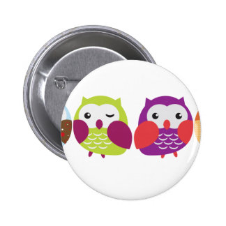 Four Colorful Owls 6 Cm Round Badge