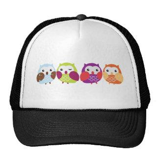 Four Colorful Owls Cap