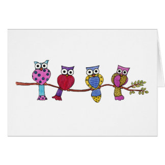 Four Colorful Owls Card
