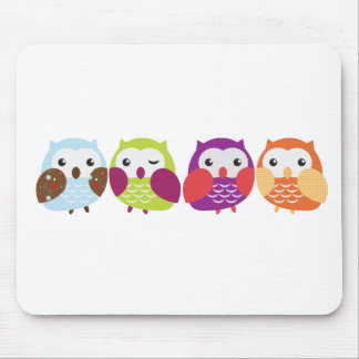Four Colorful Owls Mouse Pad
