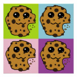 Four coloured Chocolate chip cookies Print