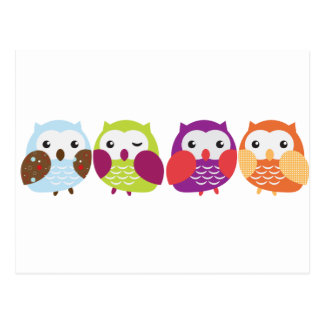 Four Colourful Owls Postcard