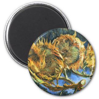 Four Cut Sunflowers - Vincent Van Gogh 6 Cm Round Magnet