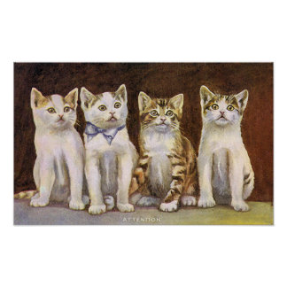 Four Cute Kittens Vintage Illustration Poster