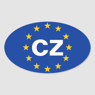 "FOUR Czech Republic ""CZ"" European Union Flag Oval Sticker"