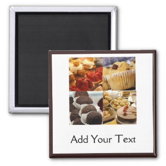 Four Dessert Panel on Chocolate Brown Square Magnet